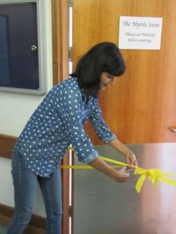 Rakhee Thakrar cuts the ribbon to open the suite